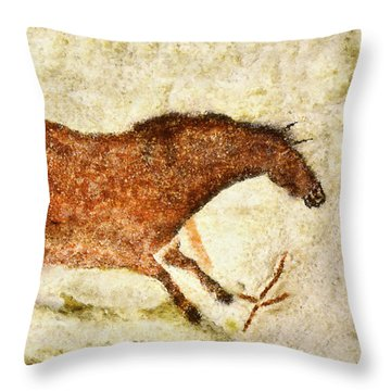 Lascaux Red Horse Throw Pillow