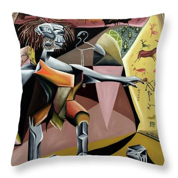 Throw Pillow featuring the painting Lascaux by Ryan Demaree