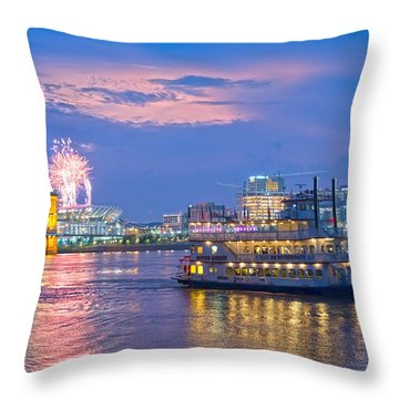 Laser Show Over Paul Brown Stadium  Throw Pillow by Randall Branham
