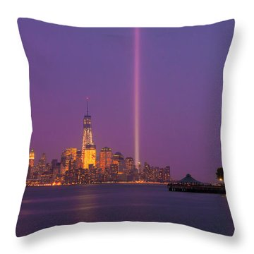 Laser Twin Towers In New York City Throw Pillow by Ranjay Mitra