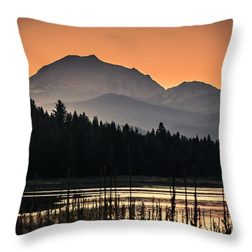 Lassen In Autumn Glory Throw Pillow by Jan Davies