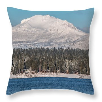Lassen On Christmas Morning Throw Pillow by Jan Davies