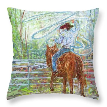 Throw Pillow featuring the mixed media Lasso by Eduardo Tavares