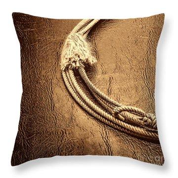 Lasso On Leather Throw Pillow