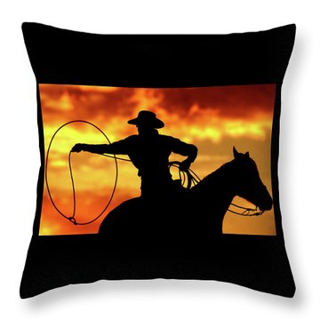 Lasso Sunset Cowboy Throw Pillow