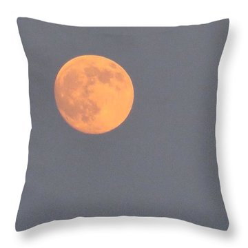 Last #evening's Almost #orange #moon Throw Pillow