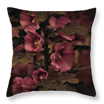 Last Hollyhock Blooms Throw Pillow