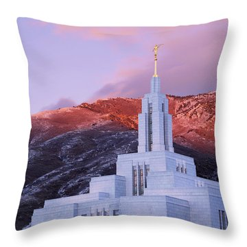 Last Light At Draper Temple Throw Pillow by Chad Dutson