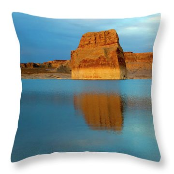 Throw Pillow featuring the photograph Last Light At Lone Rock by Mike Dawson