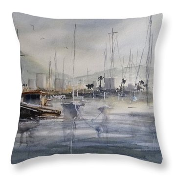 Throw Pillow featuring the painting Last Light At Newport Beach by Sandra Strohschein