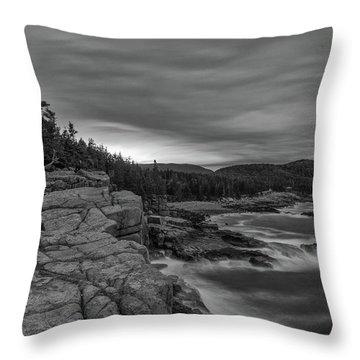 Last Light At Otter Cliff Throw Pillow