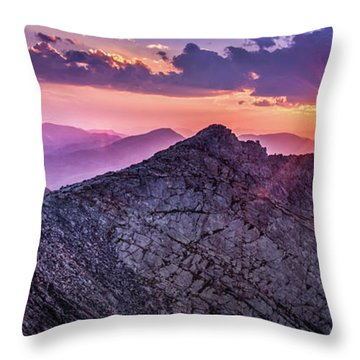 Last Light At The Summit Throw Pillow