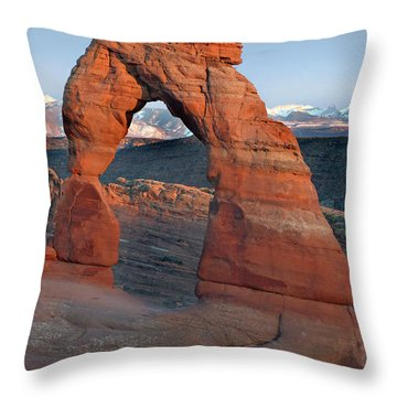 Last Light On Delicate Arch  Throw Pillow