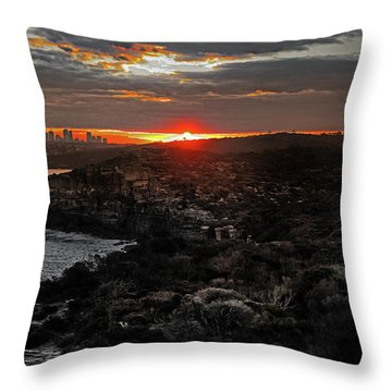 Throw Pillow featuring the photograph Last Light Over North Head Sydney by Miroslava Jurcik