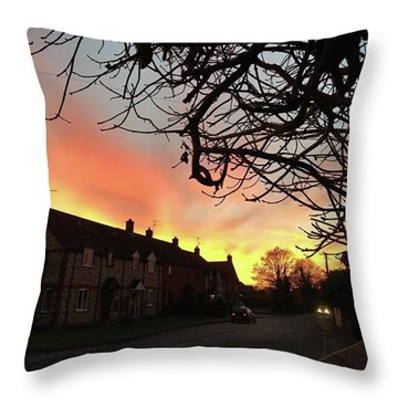 Last Night's Sunset From Our Cottage Throw Pillow