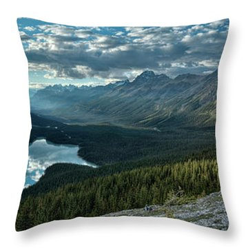 Last Rays Of Light Over Peyto Lake Throw Pillow by Sebastien Coursol