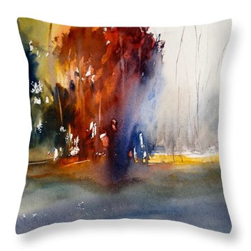 Throw Pillow featuring the painting Last Stand Of The Maples by Sandra Strohschein