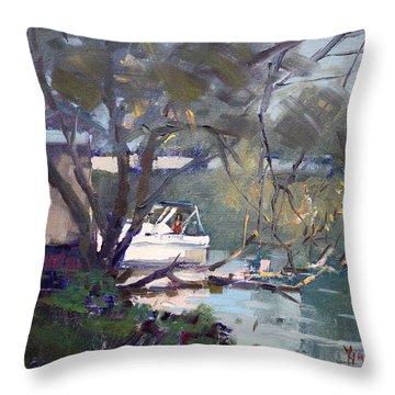 Last Sun Touches By Tonawanda Canal Throw Pillow