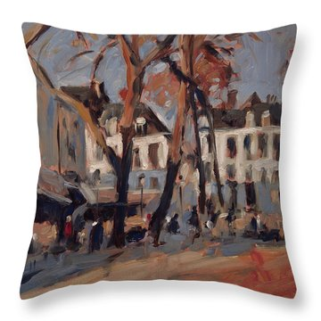 Last Sunbeams Our Lady Square Maastricht Throw Pillow