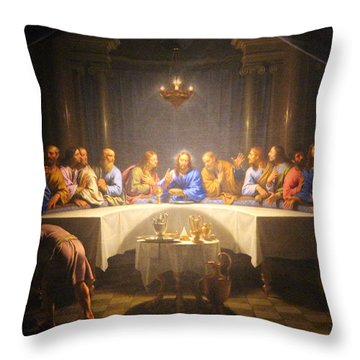 Last Supper Meeting Throw Pillow by Munir Alawi