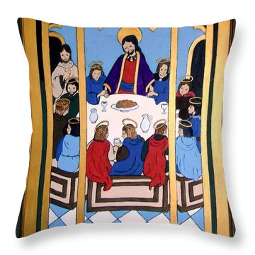 Throw Pillow featuring the painting Last Supper by Stephanie Moore