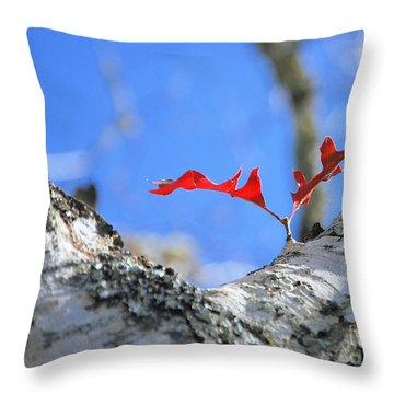 Last To Leaf Throw Pillow by Debbie Karnes