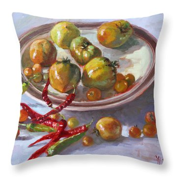 Last Tomatoes From My Garden Throw Pillow
