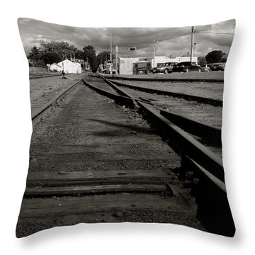 Last Train Track Out Throw Pillow by Lorraine Devon Wilke