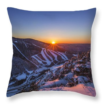 Last Winter Sunset Over Cannon Mountain Throw Pillow