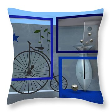 Last Years In Blue Throw Pillow