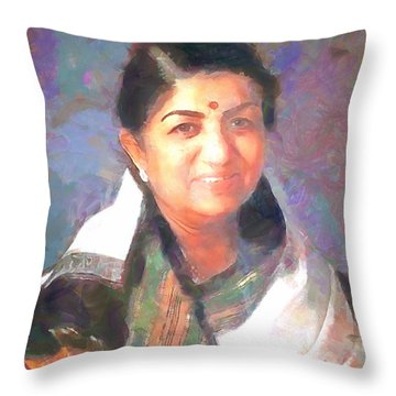 Lata Mangeshkar  Throw Pillow