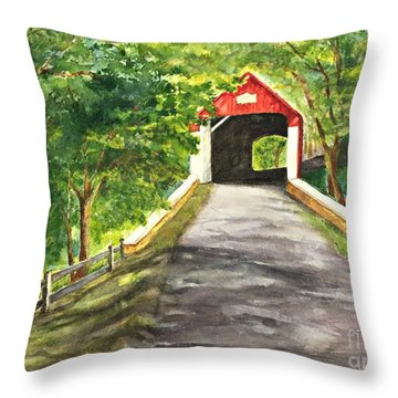 Late Afternoon At Knechts Covered Bridge   Throw Pillow