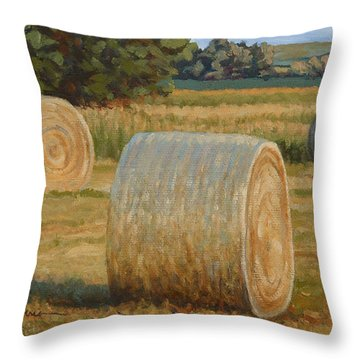 Late Afternoon Bales - Plein Air Throw Pillow
