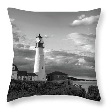 Throw Pillow featuring the photograph Late Afternoon Clouds, Portland Head Light  -98461 by John Bald