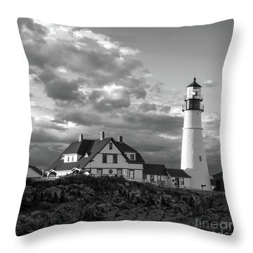 Throw Pillow featuring the photograph Late Afternoon Clouds, Portland Head Light  -98461-sq by John Bald