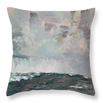 Late Afternoon In Niagara Falls Throw Pillow by Ylli Haruni
