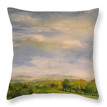 Throw Pillow featuring the painting  Late Afternoon In Vermont  by Laurie Rohner