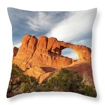 Late Afternoon Light On Skyline Arch Throw Pillow