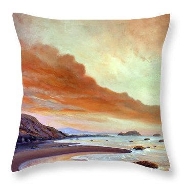Late Afternoon On San Simeon Beach Throw Pillow