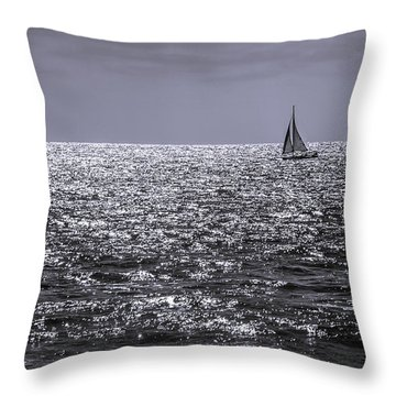 Sailboat Off The Coast At San Diego Throw Pillow