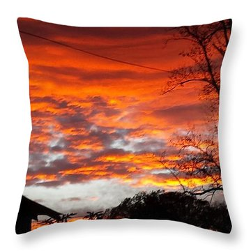 Late Autumn Sunset Throw Pillow