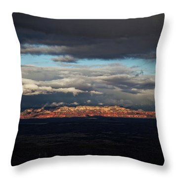 Late Light On Red Rocks With Storm Clouds Throw Pillow