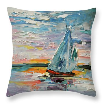 Late Night Sail Throw Pillow
