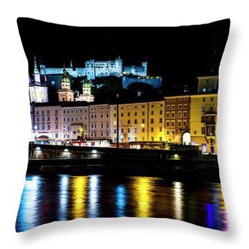 Throw Pillow featuring the photograph Late Night Stroll In Salzburg by David Morefield