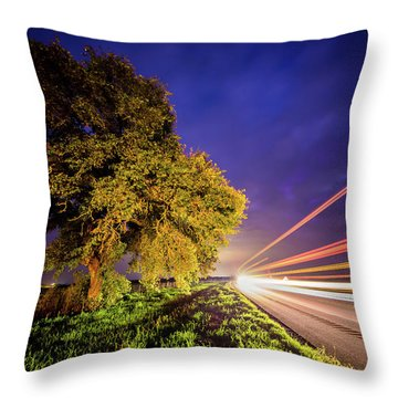 Late Night Texas Country Road Traffic Light Trails Throw Pillow