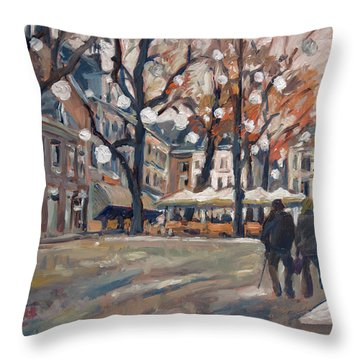 Late November At The Our Lady Square Maastricht Throw Pillow