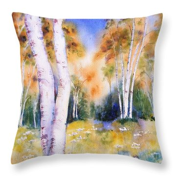 Late Summer Birches Throw Pillow