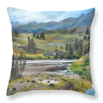 Late Summer In Yellowstone Throw Pillow