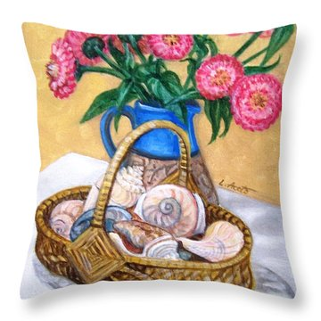 Throw Pillow featuring the painting Late Summer by Laura Aceto