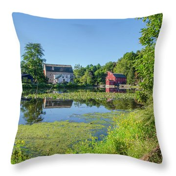 Late Summer - The Red Mill  On The Raritan River - Clinton New J Throw Pillow by Bill Cannon